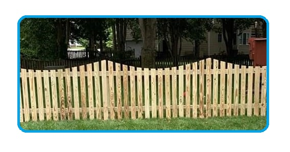 concave picket wood fence