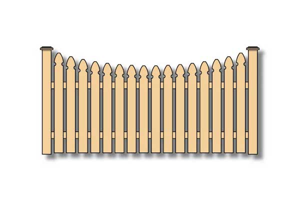 concave french gothic picket wood fence