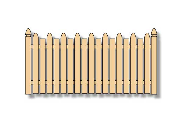 gothic-flat top picket wood fence