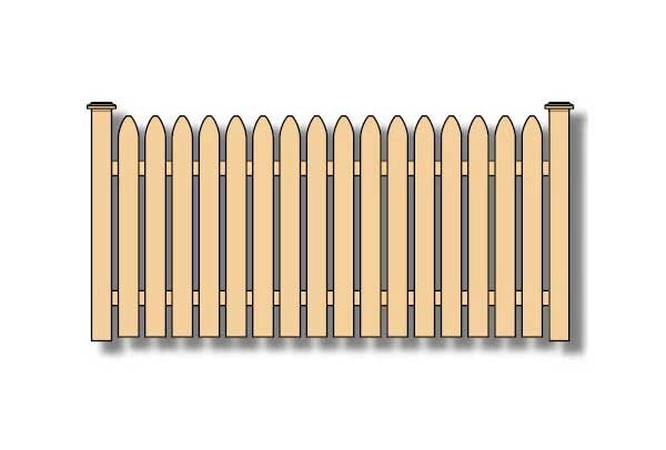 gothic picket wood fence
